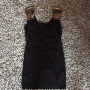 Guess Black Bodycon Dress with Gold Sequins